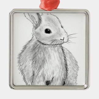 Unique Hand Drawn Bunny Christmas Ornament