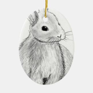 Unique Hand Drawn Bunny Christmas Ornament