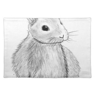 Unique Hand Drawn Bunny Placemat