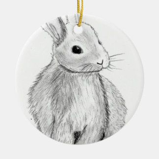Unique Hand Drawn Bunny Round Ceramic Decoration