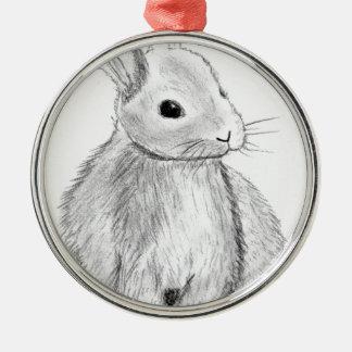 Unique Hand Drawn Bunny Silver-Colored Round Decoration