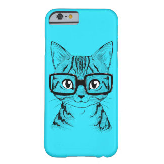 Unique Hand Drawn Nerdy Cat Art Blue Phone Case