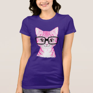 Unique Hand Drawn Nerdy Cat Art Women's Jersey Tee