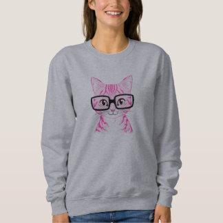 Unique Hand Drawn Nerdy Cat Art Women's Sweater