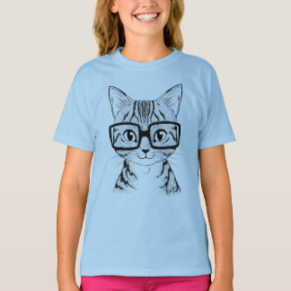 Unique Hand Drawn Nerdy Cat Girl's Blue T-shirt