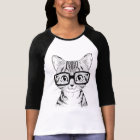 Unique Hand Drawn Nerdy Cat Women's Baseball Tee