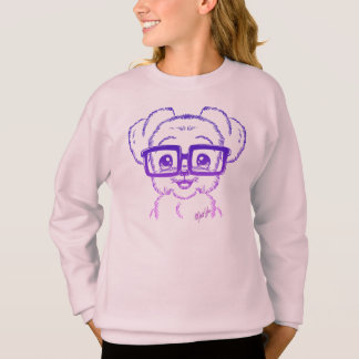 Unique Hand Drawn Nerdy Dog Art Girl's Sweater