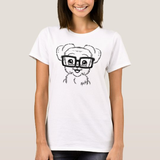 Unique Hand Drawn Nerdy Dog Art Women's T-shirt