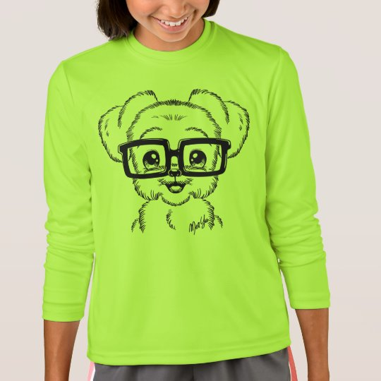 Unique Hand Drawn Nerdy Dog Girl's Long Sleeve Tee