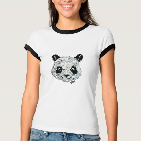 Unique Hand Painted Panda Art Women's Ringer Shirt