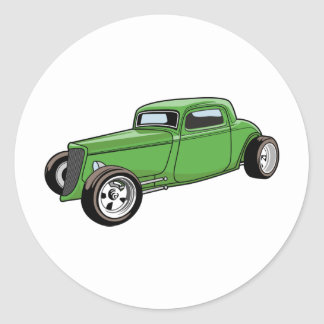 Unique Hot Rod Coupe Round Sticker