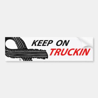 Unique keep on truckin slogan bumper sticker. bumper sticker