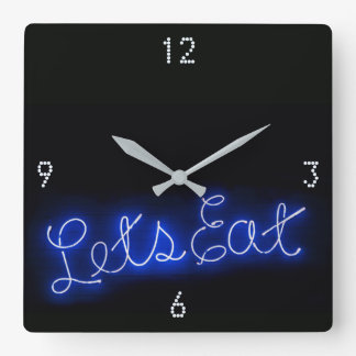 Unique Let's Eat Vintage Neon Sign in Blue Square Wall Clock
