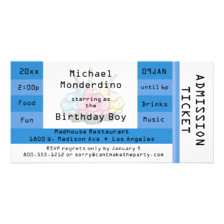 Unique Light Blue Admission Ticket Birthday Invite Photo Greeting Card