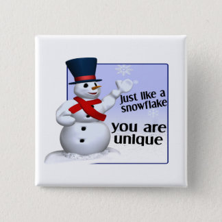 Unique Like A Snowflake 15 Cm Square Badge