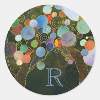 Unique Love Trees Blue Wedding Monogram Round Sticker