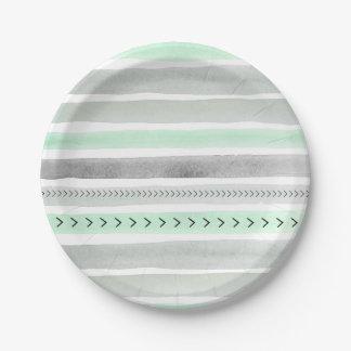 Unique Mint Gray Watercolor Stripes and Arrows Paper Plate