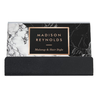Unique Mixed Black White Marble Desk Business Card Holder
