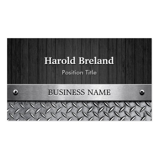 Premium silver metallic business card templates unique mixed wood plank and silver metal plate business cards reheart Gallery