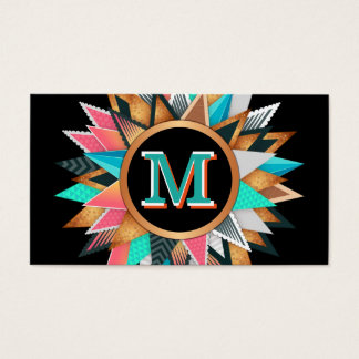 Unique Modern Art Colorful Spikes Bold Monogrammed Business Card