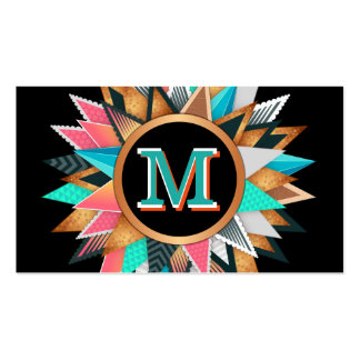 Unique Modern Art Colorful Spikes Bold Monogrammed Pack Of Standard Business Cards