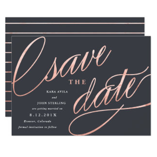 Unique Modern Save the Dates | Rose Gold Card