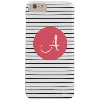 Unique Monogram Black White Pink Striped Barely There iPhone 6 Plus Case