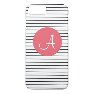 Unique Monogram Black White Pink Striped iPhone 8 Plus/7 Plus Case