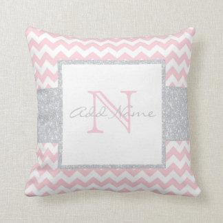 Unique Monogram Grey Pink Chevron Baby Girl Pillow