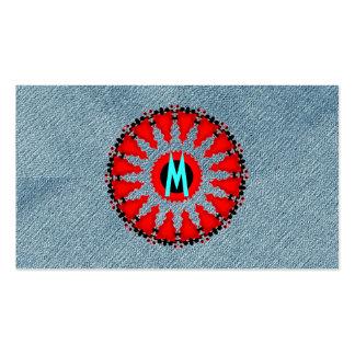 Unique Monogram Initial Denim Modern Art-Deco Red Pack Of Standard Business Cards