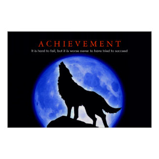 Unique Motivational Wolf Howling Poster Print