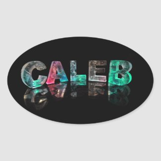 Unique Names - Caleb in 3D Lights Oval Sticker