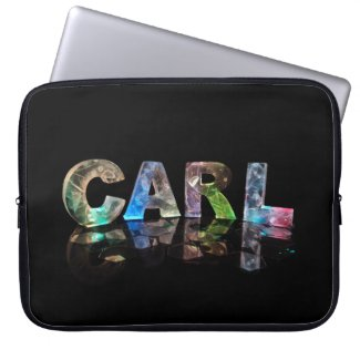 Unique Names - Carl in 3D Lights Laptop Computer Sleeve