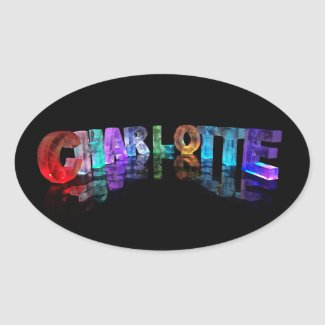 Unique Names - Charlotte in 3D Lights Oval Sticker