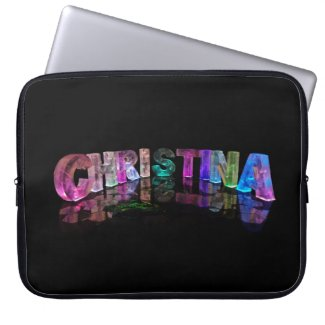 Unique Names - Christina in 3D Lights Laptop Sleeves