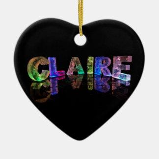 Unique Names - Claire in 3D Lights Ceramic Heart Decoration