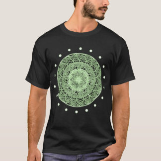 Unique Neon Green Glowing Effect Mandala Design T-Shirt