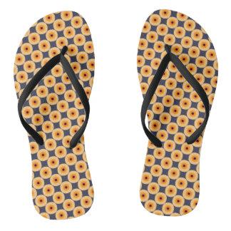 Unique Orange Blue Yellow Polka Dot Pattern Flip Flops