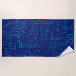 unique pattern of names blue-on-blue beach towel