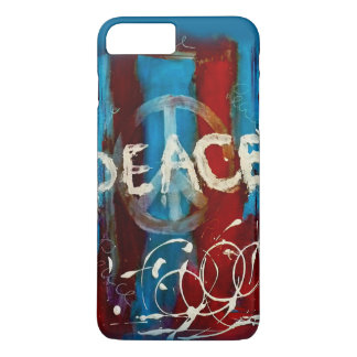 Unique peace sign on a abstract background iPhone 7 plus case