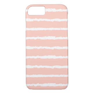 Unique Peach White Grunge Stripes iPhone 7 case