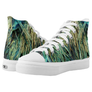 Unique Peacock Feather High Tops