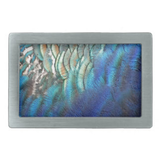 Unique Peacock Feathers Rectangular Belt Buckles