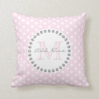 Unique Personalised Baby Pink Polka Dot - Diamonds Throw Pillow