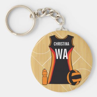 Unique Personalised Netball Basic Round Button Key Ring