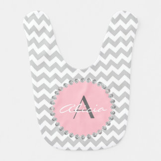 Unique Personalized Baby Pink Chevron - Diamonds Bibs