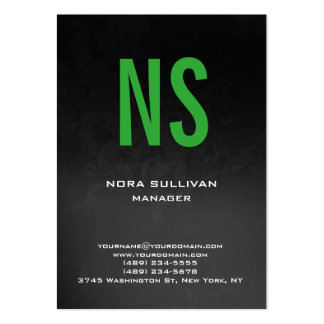 Unique plain simple grey black green monogram pack of chubby business cards