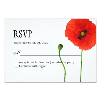Unique Poppy Floral Simplicity RSVP 9 Cm X 13 Cm Invitation Card