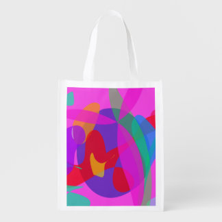 Unique Psychedelic Pink Design Grocery Bags