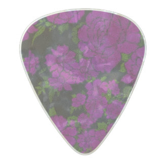 Unique Purple Abstract Roses Pearl Celluloid Guitar Pick